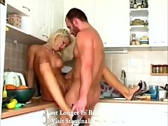 Slutty girl has fun with his big cock in kitchen2