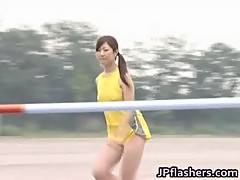 Asian amateur in nude track and field