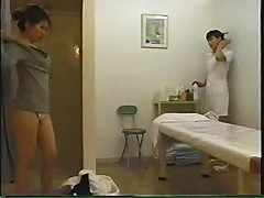 Japanese girl in massage cabinet