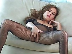 Randy asian brunette in fishnet body stocking fingering her ...