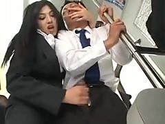 Business man gets handjob on a train