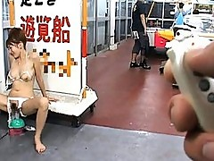 Reon Otowa fucks a sex toy outside a store flashing her cunt