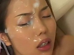 Asian bukkake cutie takes sperm shower
