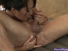 Beautiful Asian Teases and Handjobs in the Bathroom