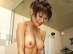 Juri Matsuzaka naked in the bath with her horny lover