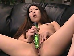 Two toys puncture Asian bitches horny hole