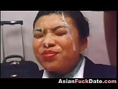 Nasty Japanese Girl Gets Group Facial
