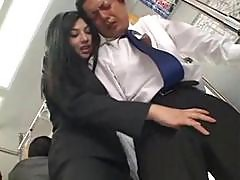 Sexy Asian Hottie Saori Hara Gropes A Man On The Subway And Yanks His Wanker