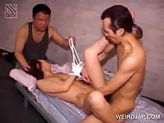 Threesome With Tied Up Asian Slave