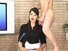 Japanese Newscaster Gets A Couple Of Hard Cocks And Lots Of Cum