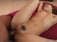 hairy asian pussy sucks cock