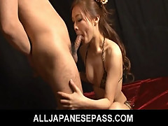 Asian in a bikini gets a fast face fucking
