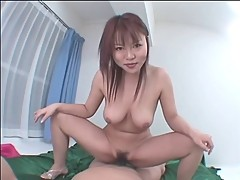 Lusty asian babe deepthroats a big hard cock