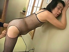 Mature asian slut plug her pussy with this pink vibrator